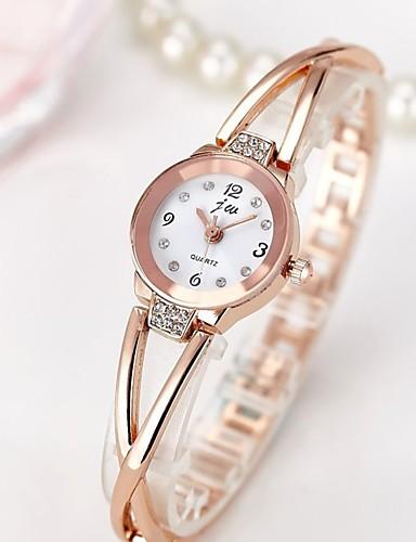 voordelige Trendy Horloge-Dames Polshorloge Diamond Watch Gouden Horloge Kwarts Roestvrij staal Zilver / Goud Rose Waterbestendig Chronograaf Creatief Analoog Amulet Glitter Informeel Bangle Modieus - Zilver Goud Rose