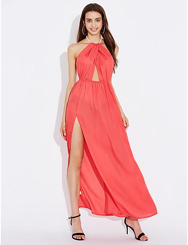 Damen Strand Swing Kleid Solide Maxi Hohe Hüfthöhe
