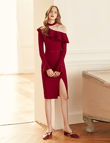 MASKED QUEEN Women's Vintage Flare Sleeve Bodycon Dress - Solid Colored, Ruffle Split