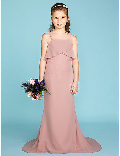ed9f689a07799 Sheath / Column Spaghetti Strap Sweep / Brush Train Chiffon Junior  Bridesmaid Dress with Tiered by LAN TING BRIDE® / Wedding Party / Open Back