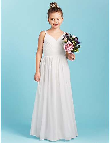 bed7f6002fed9 A-Line / Princess Spaghetti Strap Floor Length Chiffon Junior Bridesmaid  Dress with Sash / Ribbon / Criss Cross by LAN TING BRIDE®
