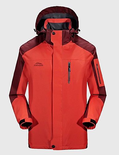 cheap Outdoor Clothing-Men's Hiking Jacket Outdoor Autumn / Fall Winter Windproof Rain Waterproof Breathability Wearable Winter Jacket Top Full Length Visible Zipper Camping / Hiking Climbing Cycling / Bike Sky Blue / Red