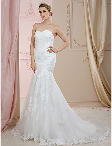 Mermaid / Trumpet Sweetheart Neckline Court Train Lace / Tulle Made-To-Measure Wedding Dresses with Beading / Appliques / Buttons by LAN TING BRIDE® / Open Back