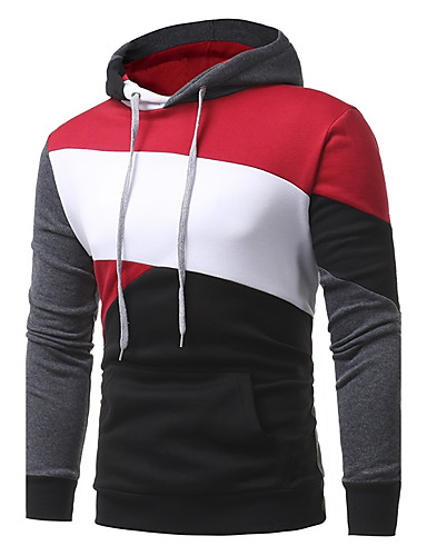 Men's Plus Size Street chic Long Sleeves Hoodie - Striped Color Block, Patchwork Hooded