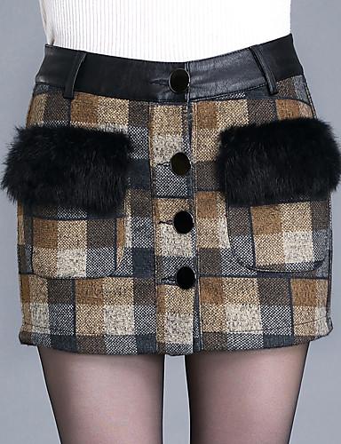 abordables Jupes-Femme Grandes Tailles Quotidien Moulante Jupes - Géométrique Hiver Rouge Marron M L XL