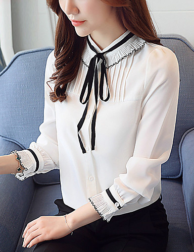 Women's Work Blouse - Solid Colored Stand