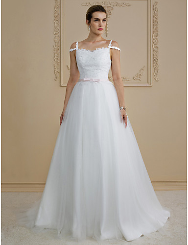 Princess Straps Sweep / Brush Train Lace / Tulle Custom Wedding Dresses with Bow(s) / Sashes / Ribbons by LAN TING BRIDE®