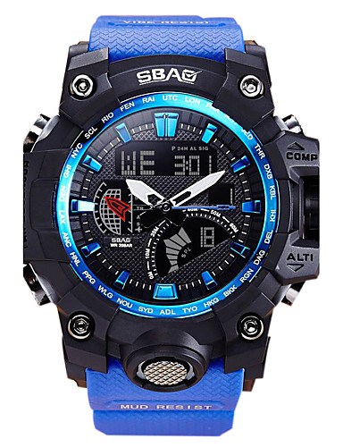 Men's Sport Watch Wrist Watch Quartz 30 m Water Resistant / Water Proof Calendar / date / day LCD PU Band Analog-Digital Casual Fashion Blue / Red - Red Blue / Dual Time Zones / Stopwatch