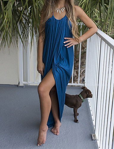 Women's Loose Dress - Solid Colored Blue Maxi V Neck