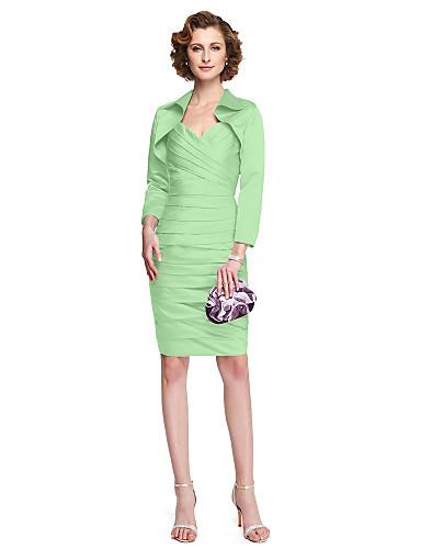 fb3450a5322f Ίσια Γραμμή Λουριά Μέχρι το γόνατο Σατέν Φόρεμα Μητέρας της Νύφης με Χιαστί  με LAN TING BRIDE®