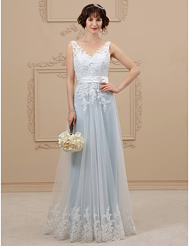 A-vonalú V-alakú Földig érő Csipke / Organza Made-to-measure esküvői ruhák val vel Csokor / Selyemövek / Szalagok által LAN TING BRIDE® / Színes menyasszonyi ruhák / Open Back