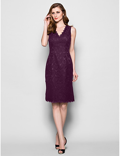 Sheath / Column V Neck Knee Length Lace Mother of the Bride Dress with Lace / Pleats by LAN TING BRIDE®