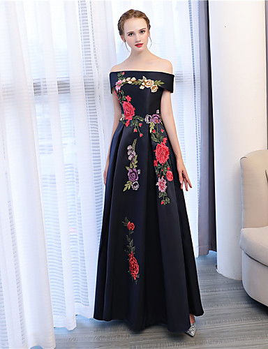A-Line Off Shoulder Ankle Length Satin / Satin Chiffon Formal Evening Dress with Embroidery by LAN TING Express