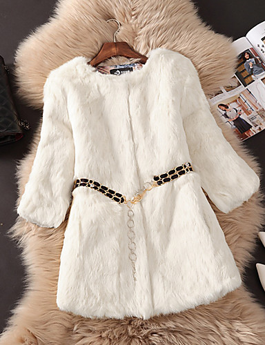 Women's Going out Simple / Casual Fur Coat - Solid Colored, Fur Trim