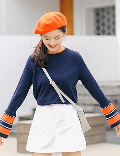 Damen Standard Pullover-Lässig/Alltäglich Einfarbig Rundhalsausschnitt Langarm Baumwolle Acryl Dünn Mikro-elastisch