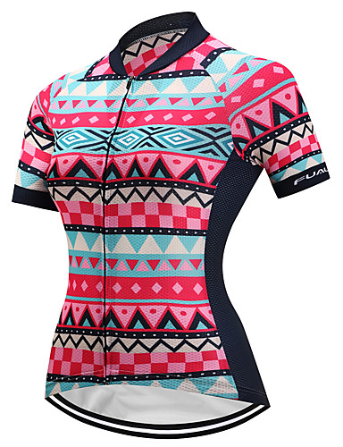 cheap Cycling Clothing-FUALRNY® Women's Short Sleeve Cycling Jersey - Red Plaid / Checkered Bike Jersey Quick Dry Sports Coolmax® Lycra Mountain Bike MTB Road Bike Cycling Clothing Apparel / High Elasticity