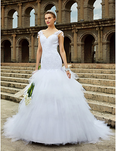 ad282aab9e5 Mermaid   Trumpet V Neck Chapel Train Tulle   All Over Lace Made-To-Measure Wedding  Dresses with Beading   Lace   Tiered by LAN TING BRIDE®   Open Back   ...
