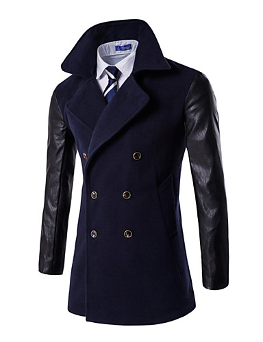 Állógallér Férfi Extra méret Hosszú Kabát - Egyszínű Pamut / Hosszú ujj / Dupla soros