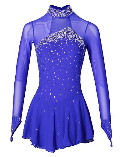 Figure Skating Dress Women's / Girls' Ice Skating Dress Aquamarine Spandex Rhinestone Performance Skating Wear Handmade Jeweled /