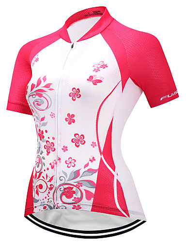 cheap Cycling Clothing-FUALRNY® Women's Short Sleeve Cycling Jersey Red and White Bike Jersey Quick Dry Reflective Strips Sports Coolmax® Lycra Clothing Apparel / High Elasticity