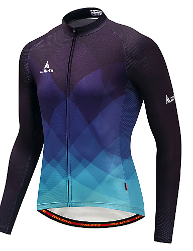 cheap Cycling Clothing-Miloto Men's Long Sleeve Cycling Jersey - Blue / Black Gradient Bike Jersey Top Sports Winter Polyster Mountain Bike MTB Road Bike Cycling Clothing Apparel / Stretchy