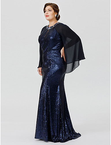 Plus Size Mermaid / Trumpet Jewel Neck Floor Length Chiffon Sequined Mother of the Bride Dress with Beading Crystal Detailing by LAN TING BRIDE®