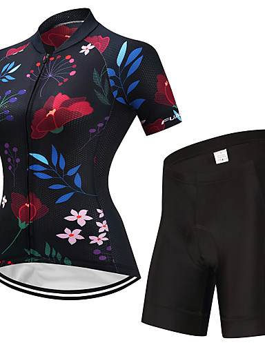 68c86300fc779 FUALRNY® Women s Short Sleeve Cycling Jersey with Shorts - Black Floral   Botanical  Bike Clothing Suit Quick Dry Sports Lycra Floral   Botanical Mountain ...