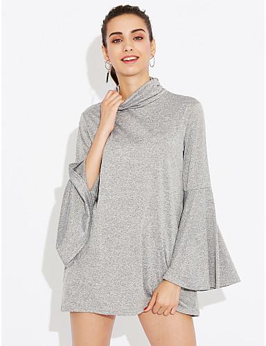 Naisten Flare Hiha Poolokaulus Polyesteri Spandex Vintage T-paita, Yhtenäinen