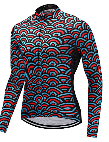 cheap Cycling Clothing-FUALRNY® Men's Long Sleeve Cycling Jersey - Red+Blue Bike Jersey Sports Winter Mountain Bike MTB Road Bike Cycling Clothing Apparel / High Elasticity