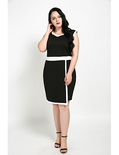 Cute Ann Women's Plus Size Vintage Street chic Shift Sheath Black and White Dress - Color Block Patchwork, Split