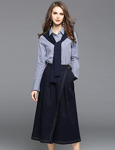 Höst Randig Lång ärm Utekväll Ledigt vardag Skjorta Byxa Kostymer ... 2aca67ccb5acd