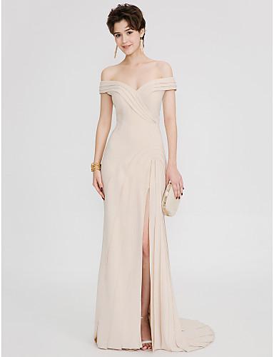 Eng anliegend Pinsel Schleppe Elasthan Formeller Abend Kleid mit Plissee Überkreuzte Rüschen durch TS Couture®