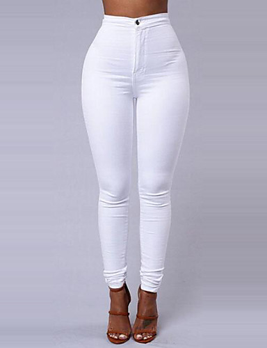cheap Women's Pants-Women's Basic Daily Going out Slim Pants - Solid Colored Winter White Black Wine L XL XXL