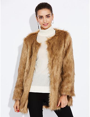 Γυναικεία Γούνινο παλτό Εξόδου Μονόχρωμο Ψεύτικη Γούνα