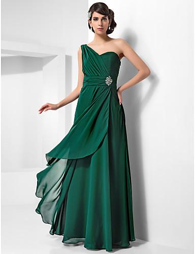 Teacă / coloană un umăr podea lungime șifon rochie seara cu cristal de ts couture®