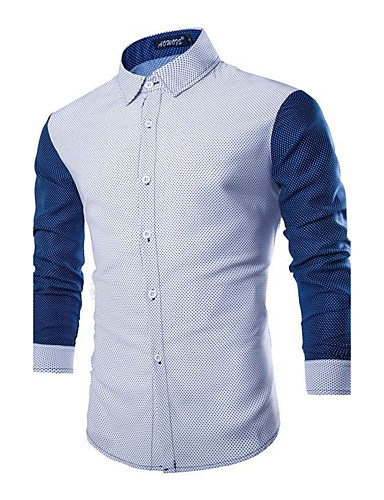 Men's Cotton Shirt - Solid Colored Polka Dot Classic Collar