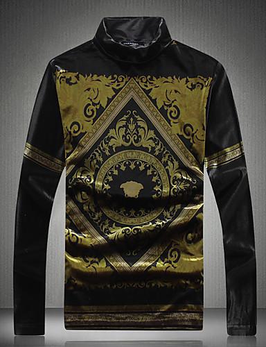 Men's Vintage Cotton T-shirt - Solid Colored, Print Turtleneck