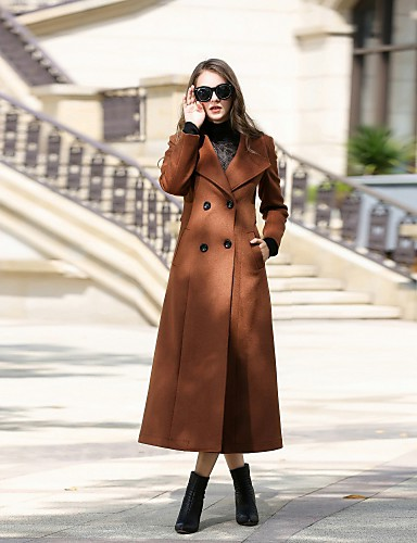 Women's Daily / Work Street chic Fall / Winter Long Coat, Solid Colored Notch Lapel Long Sleeve Cashmere / Wool / Polyester Oversized Brown / Green / Gray XL / XXL / XXXL