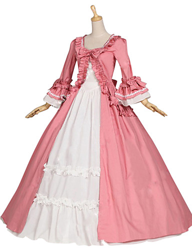 Medieval / Renaissance Costume Women's Dress / Party Costume / Masquerade Pink Vintage Cosplay Cotton / Other Long Sleeve Cap Sleeve