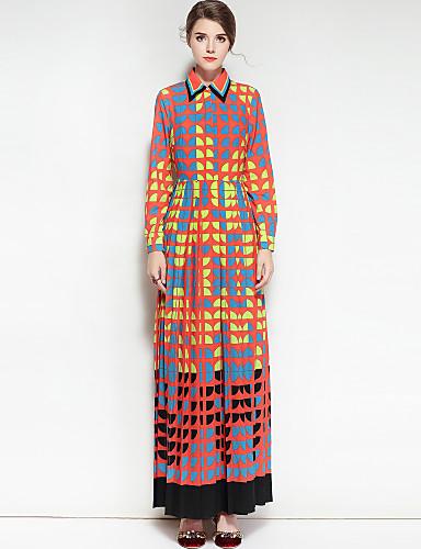 billige Kjoler-Dame Bomull Swing Kjole - Geometrisk, Trykt mønster Skjortekrage Maksi