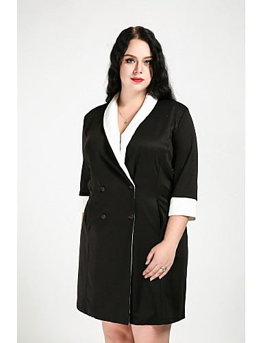 Women's Street chic Long Plus Size Cotton Trench Coat - Color Block Shirt Collar