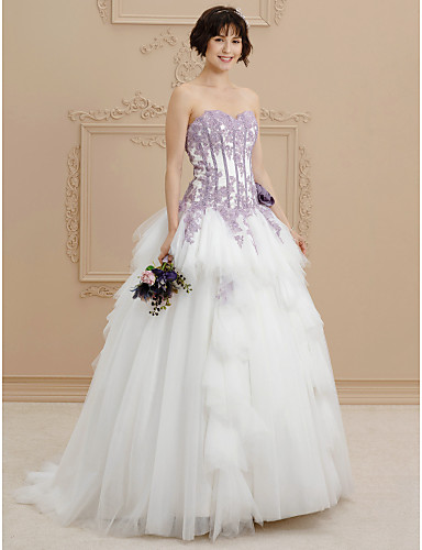 A-Line Sweetheart Sweep / Brush Train Lace Satin Tulle Wedding Dress with Beading Appliques Flower by LAN TING BRIDE®