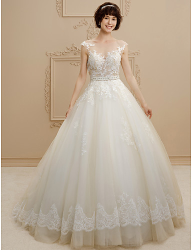 Ball Gown Illusion Neck Sweep / Brush Train Tulle / Floral Lace Made-To-Measure Wedding Dresses with Beading / Sashes / Ribbons by LAN TING BRIDE® / See-Through / Beautiful Back