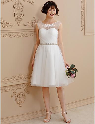 A-vonalú Térdig érő Csipke Tüll Esküvői ruha val vel Gyöngydíszítés Rátétek Pántlika / szalag által LAN TING BRIDE®