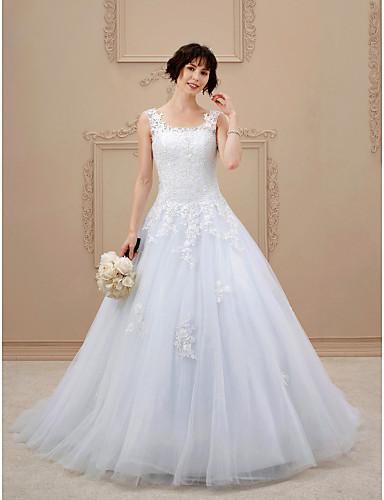 A-linje Torget Hoffslep Blonder Tyll Egendefinerte brudekjoler med Appliqué av LAN TING BRIDE®