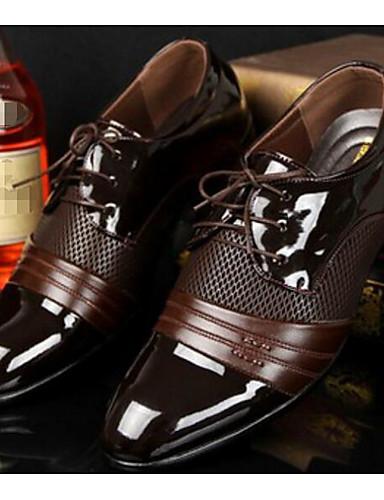 billige Oxford-sko til herrer-Herre Komfort Sko PU Vår / Høst Britisk Oxfords Svart / Brun / EU40