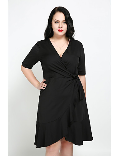 Cute Ann Women's Plus Size Street chic A Line Dress - Solid Colored Ruffle V Neck