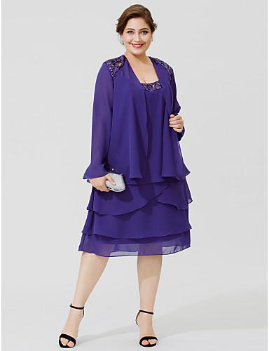 A-vonalú Scoop nyak Térdig érő Sifon Örömanya ruha val vel Gyöngydíszítés Flitter Fodrozott által LAN TING BRIDE®