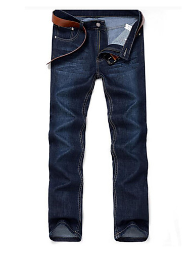 Men's Plus Size Cotton Straight / Jeans Pants - Solid Colored / Weekend