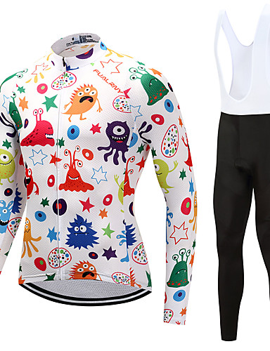 cheap Cycling Clothing-FUALRNY® Men's Long Sleeve Cycling Jersey with Bib Tights - White Bike Clothing Suit Winter Sports Fleece Graffiti Mountain Bike MTB Road Bike Cycling Clothing Apparel / High Elasticity